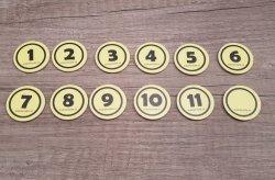 Rond Geel incl. nummer (voorbedrukt) met magneet